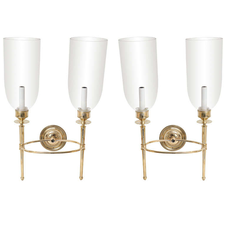 Wall Sconce Glass Globes : Pair of Brass Sconces with Glass Globes at 1stdibs