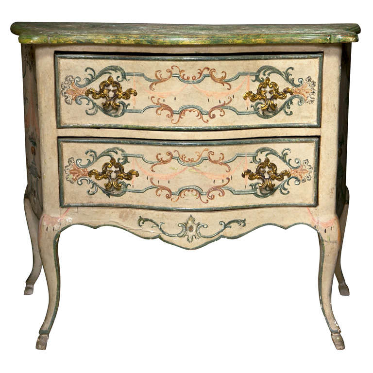 19th Century Faux Marble Continental Commode