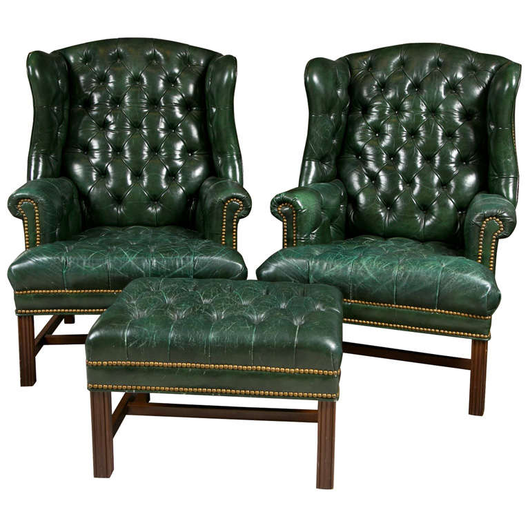 Charmant 1950u0027s Green Leather Tuffted Wing Chairs U0026 Bench ...