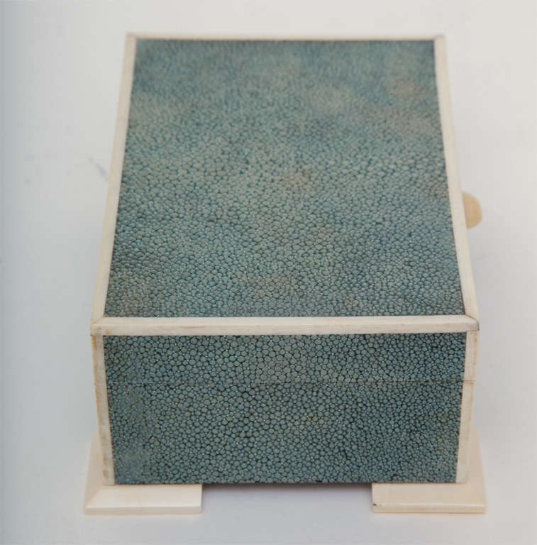 Art Deco Shagreen & Ivory Box In Excellent Condition For Sale In New York, NY
