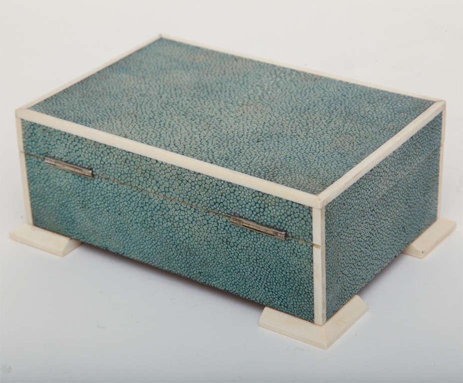 20th Century Art Deco Shagreen & Ivory Box For Sale
