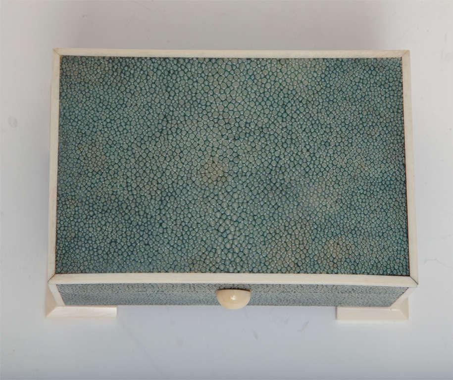 Art Deco Shagreen & Ivory Box For Sale 3