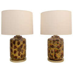 Pair of 1960's Drip Glaze Lamps