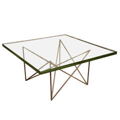Brass + Glass Coffee Table by Max Ingrand