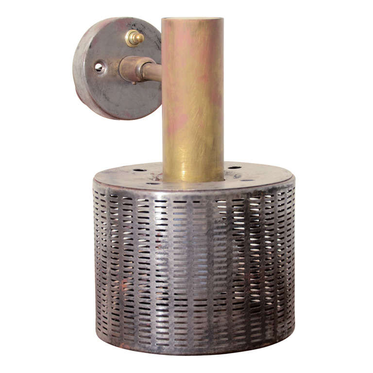Industrial Wall Sconce in Brass and Perforated Steel For Sale