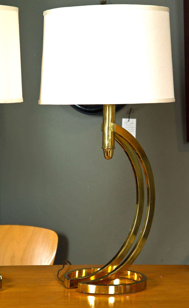 Pair of Brass Mid-Century Sculptural Lamps with Shades at ...