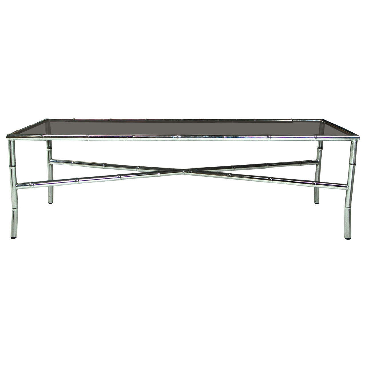 Chrome And Glass Mid Century Coffee Table At 1stdibs