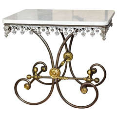 Victorian Bakers Table with Iron Base and Marble Top