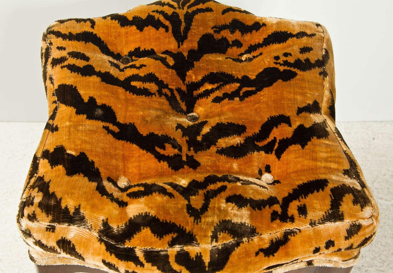 Splayed Leg Stool Upholstered In Silk Velvet At 1stdibs