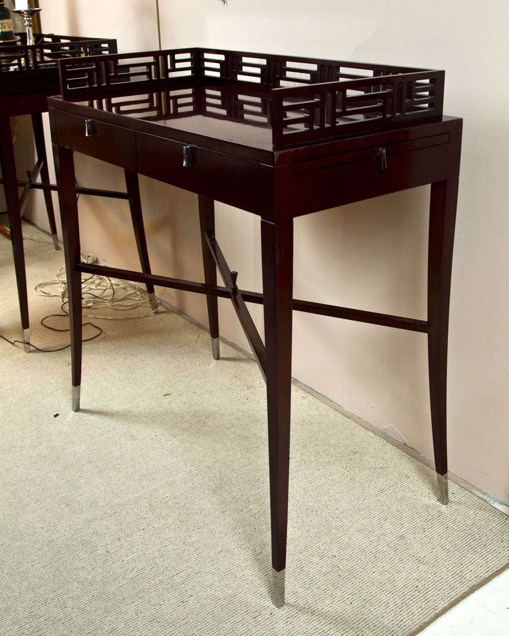 Pair of mid century mahogany bar tables at 1stdibs for Mid century bistro table