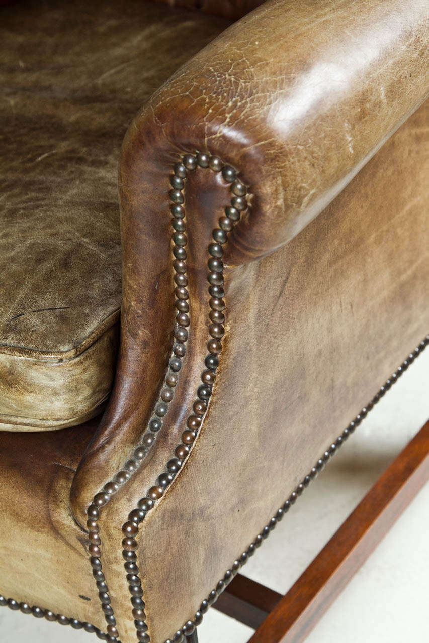 1920 39 S Leather Wingback Chair With Nail Heads At 1stdibs