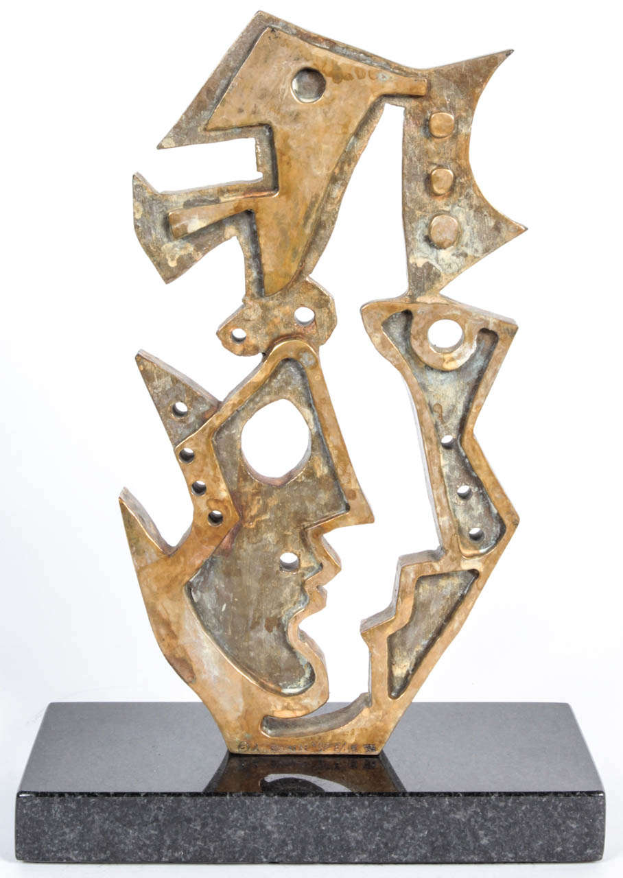 """Anthony Quinn's """"Face and Hand Mirror Coronation"""" bronze and marble maquette is part of a curated collection of original fine art. This maquette was executed in 1991 and only 10 have been cast in the Edition of 45 plus 5 Artist's Proofs."""