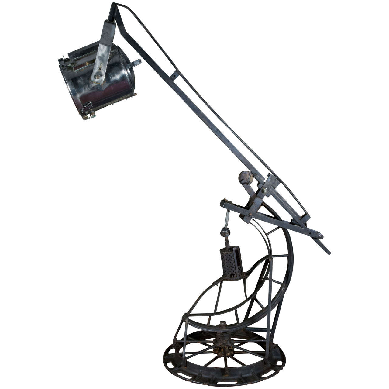 20th Century Large Industrial Floor Lamp With Hydraulic