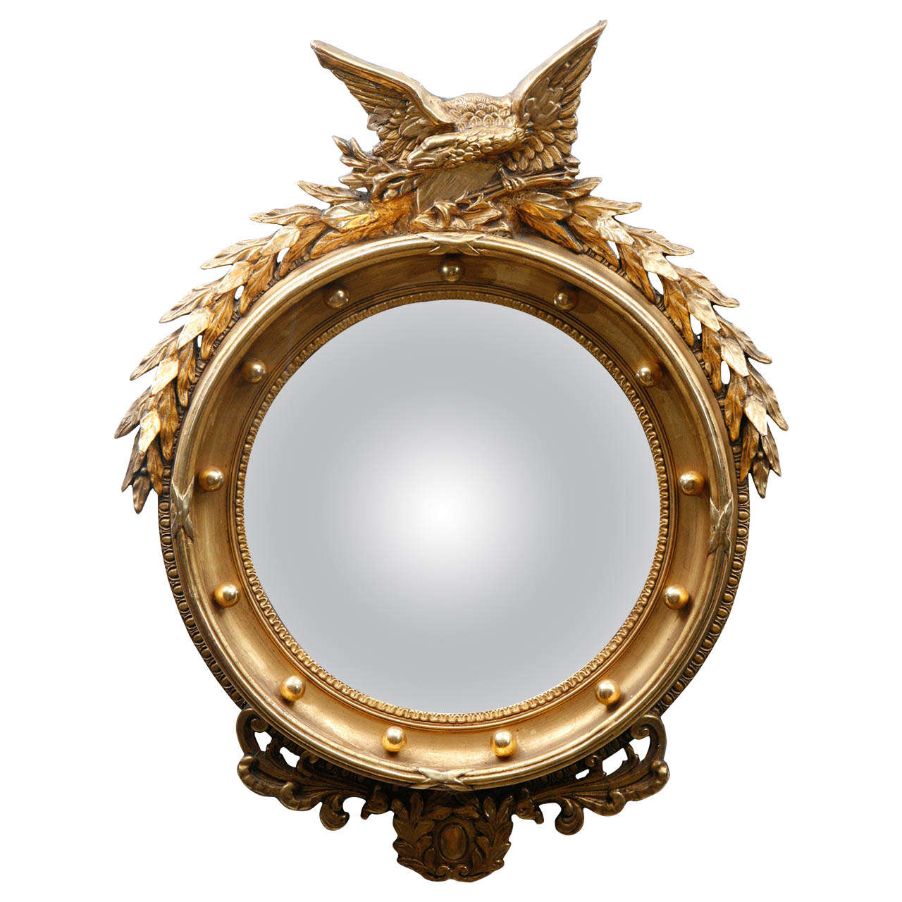 Early 1900 39 s federal convex mirror w eagle at 1stdibs for Convex mirror for home