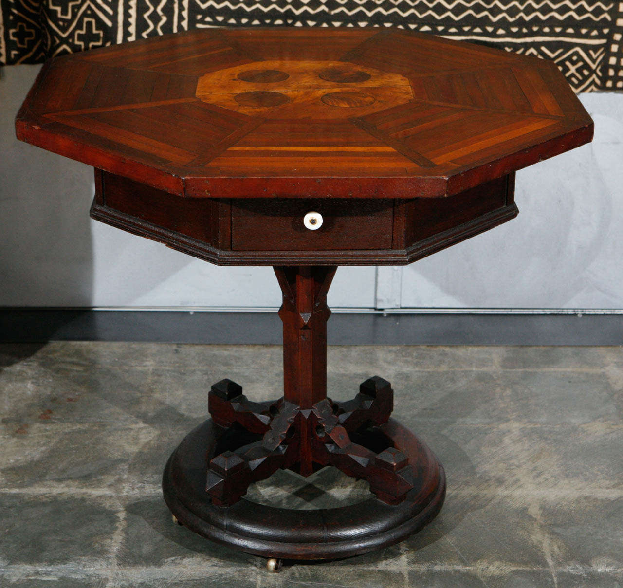 American Folk Art Table Signed and Dated 1881 In Good Condition For Sale In Culver City, CA