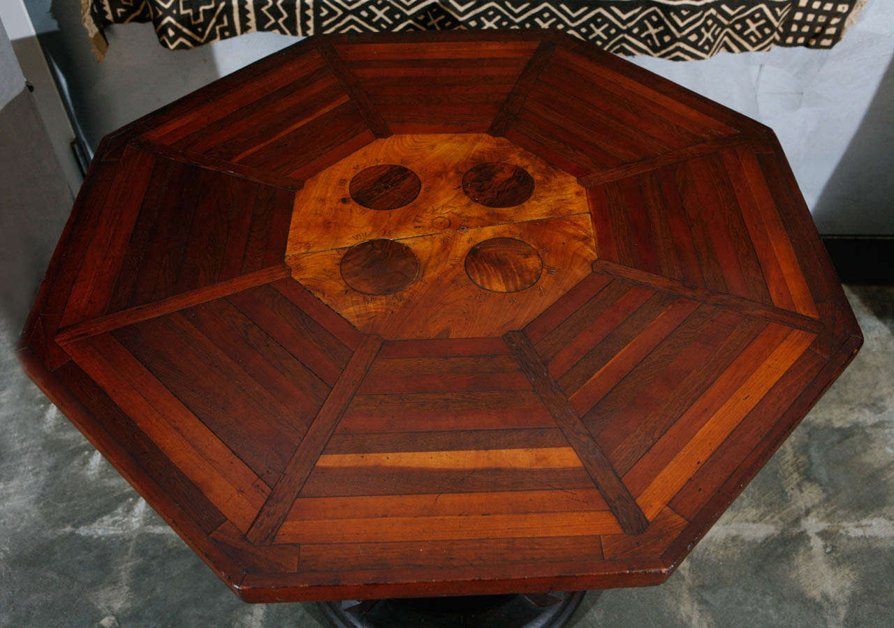 19th Century American Folk Art Table Signed and Dated 1881 For Sale