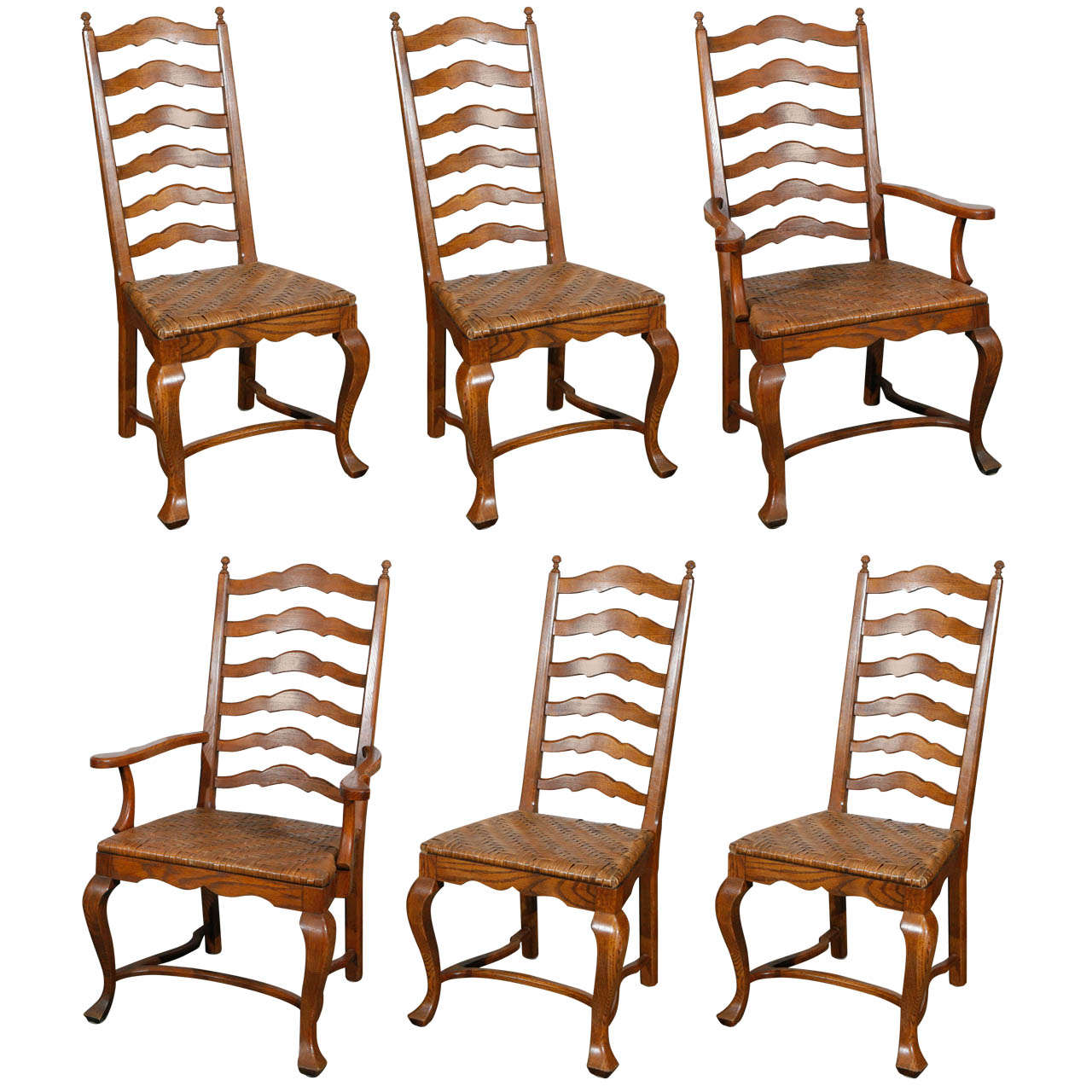 Set of 6 Ladder Back Oak Dining Chairs
