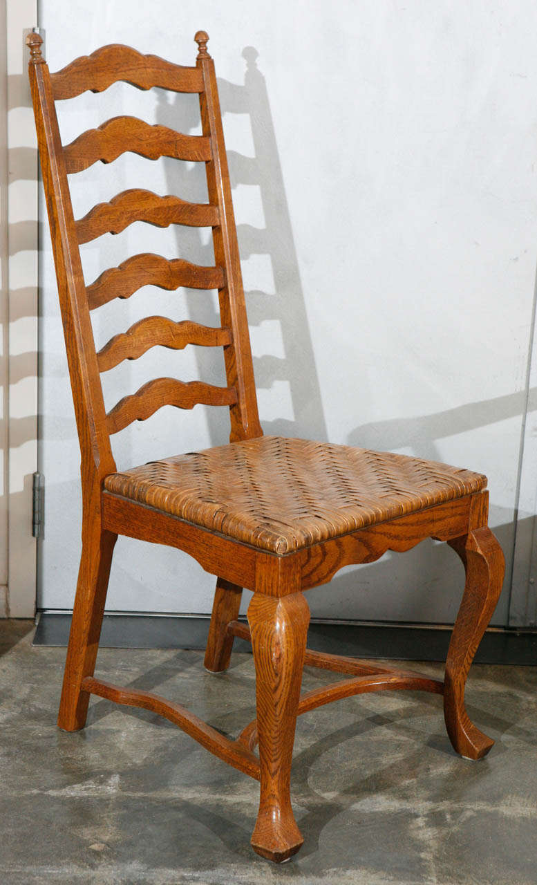 Set of 6 ladder back oak dining chairs for sale at 1stdibs Ladder back chairs