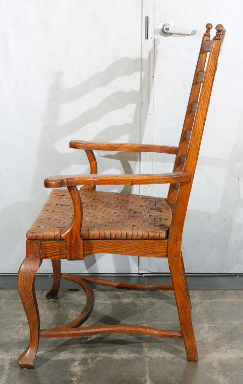 Set of 6 Ladder Back Oak Dining Chairs For Sale at 1stdibs