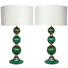 Pair of Emerald Green and 23k Gold Murano Glass Lamps