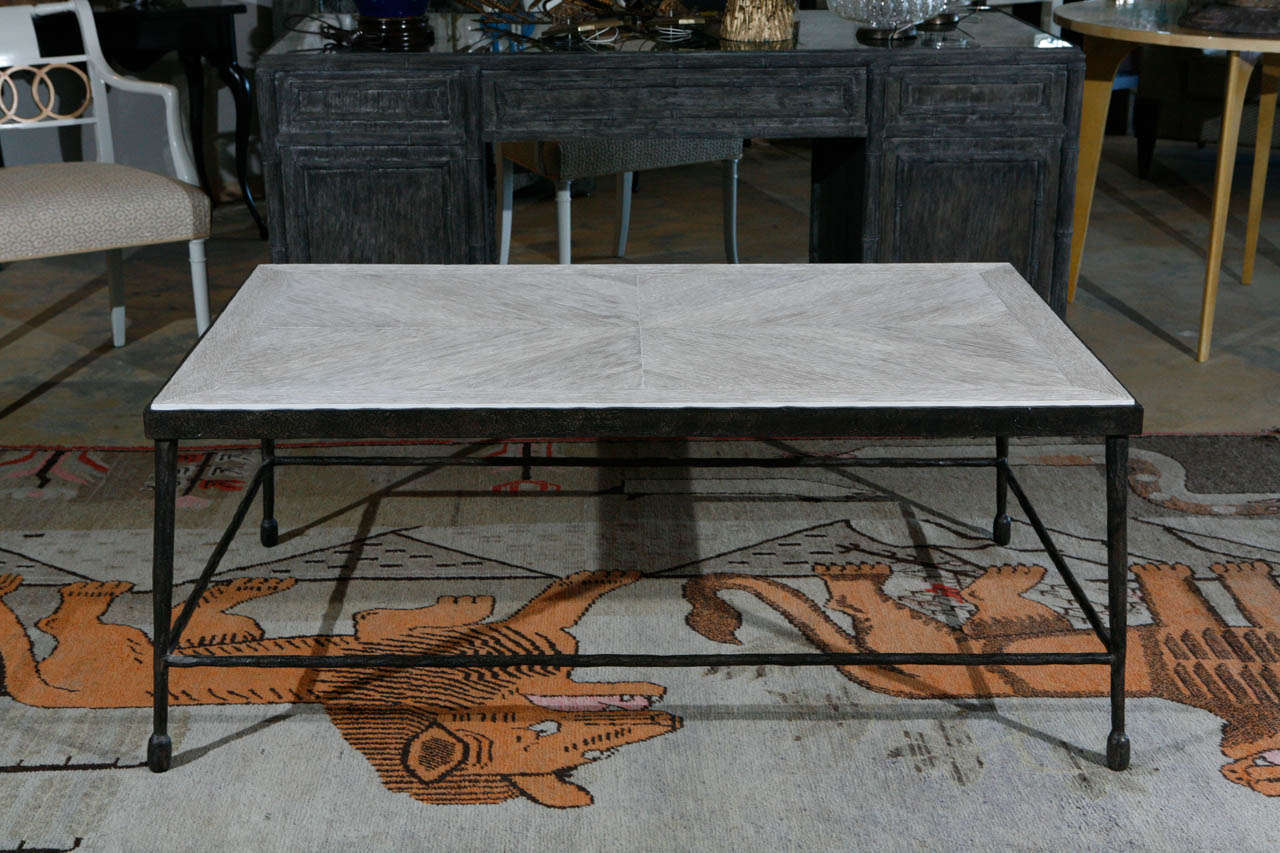 Modern coffee table in textured iron and with wood top. A distressed oak version in-stock is shown in the last three photos, same pricing. Iron with hammered textured surface, wood is in a distressed finish.