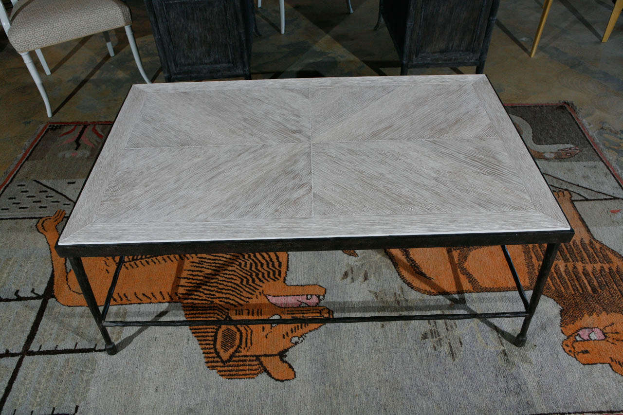 Modern Textured Iron And Wood Coffee Table For Sale At 1stdibs