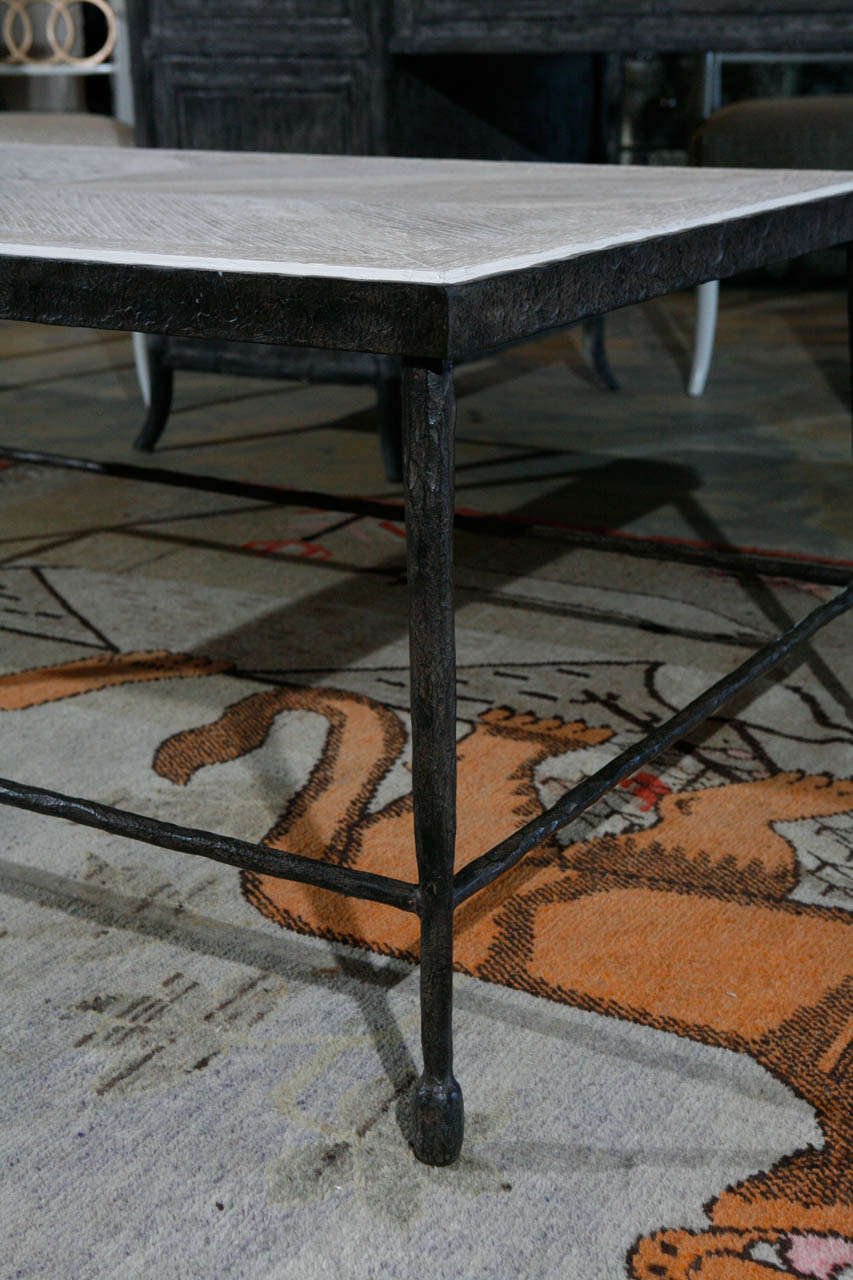 Modern Textured Iron and Wood Coffee Table In Excellent Condition For Sale In Los Angeles, CA