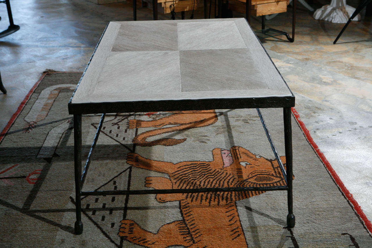 Modern Textured Iron and Wood Coffee Table For Sale 1