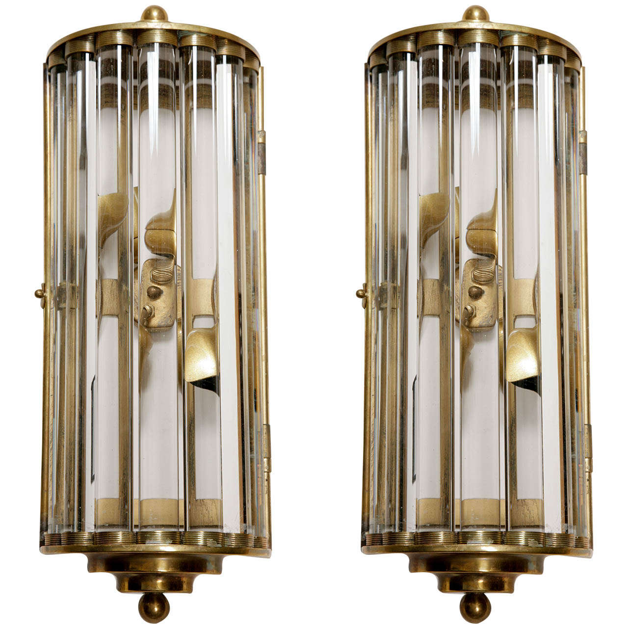 Italian Crystal Wall Lights : Italian brass and crystal bar wall lights at 1stdibs
