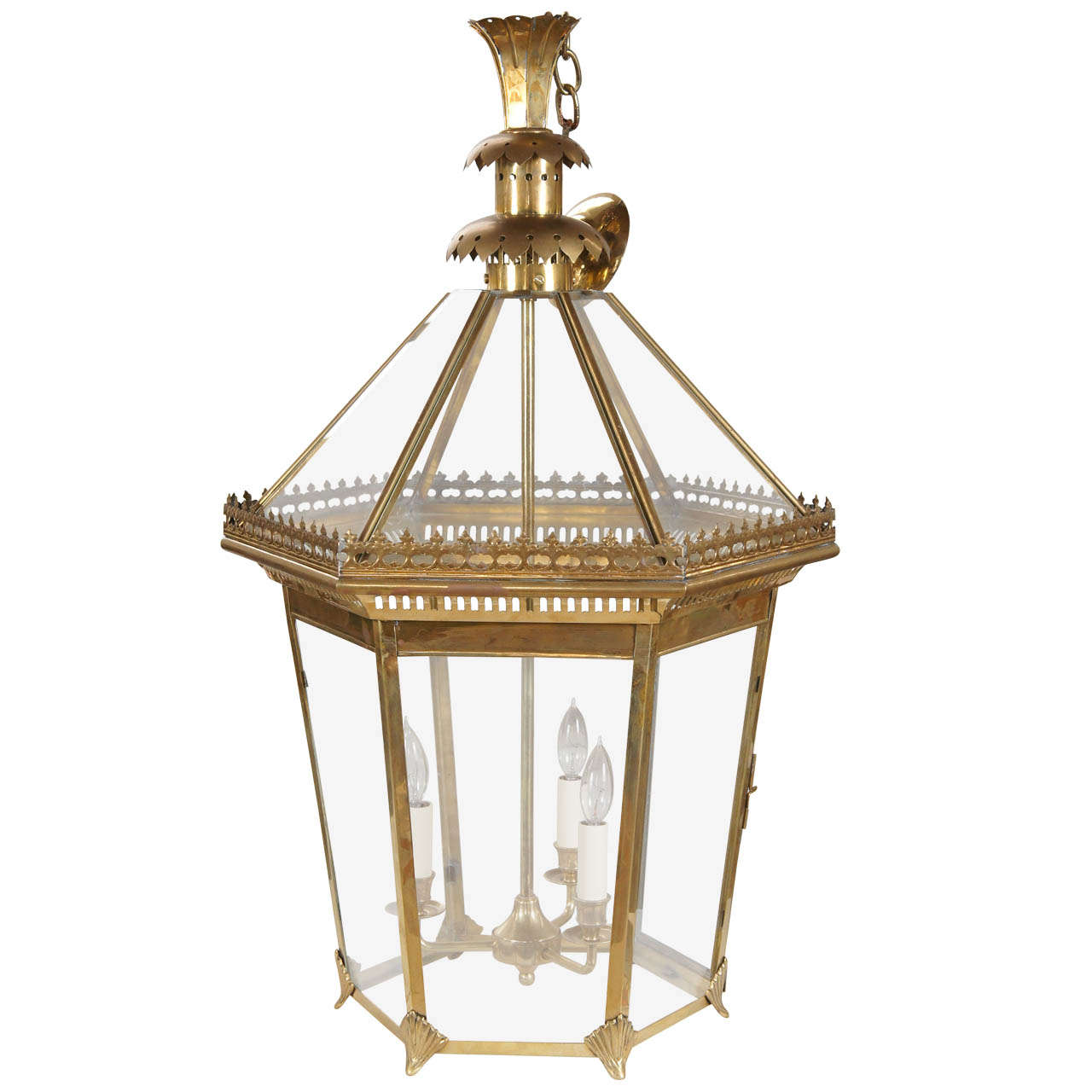 Large Brass Hexagonal Lantern At 1stdibs