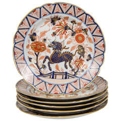 Set of Ten English Imari Inspired Dishes with Dragon