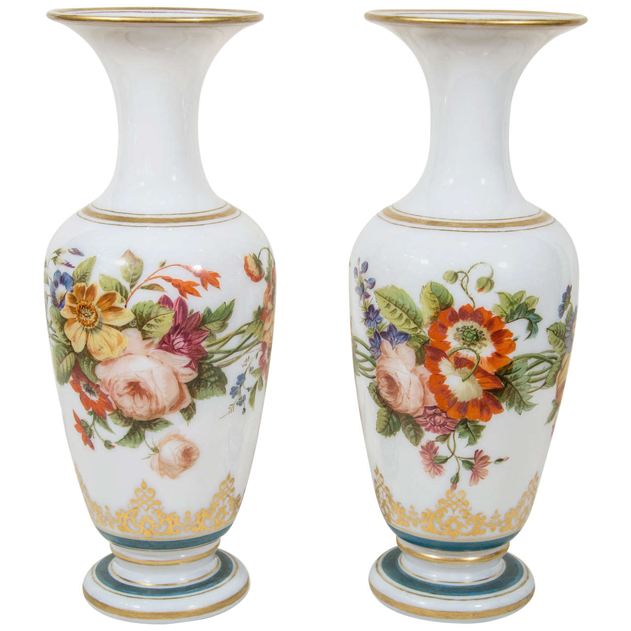 225 & Pair of Antique Opaline Glass Vases with Hand-Painted Roses ...