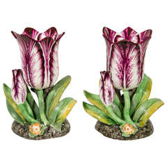 Pair of Large Staffordshire Porcelain Tulips