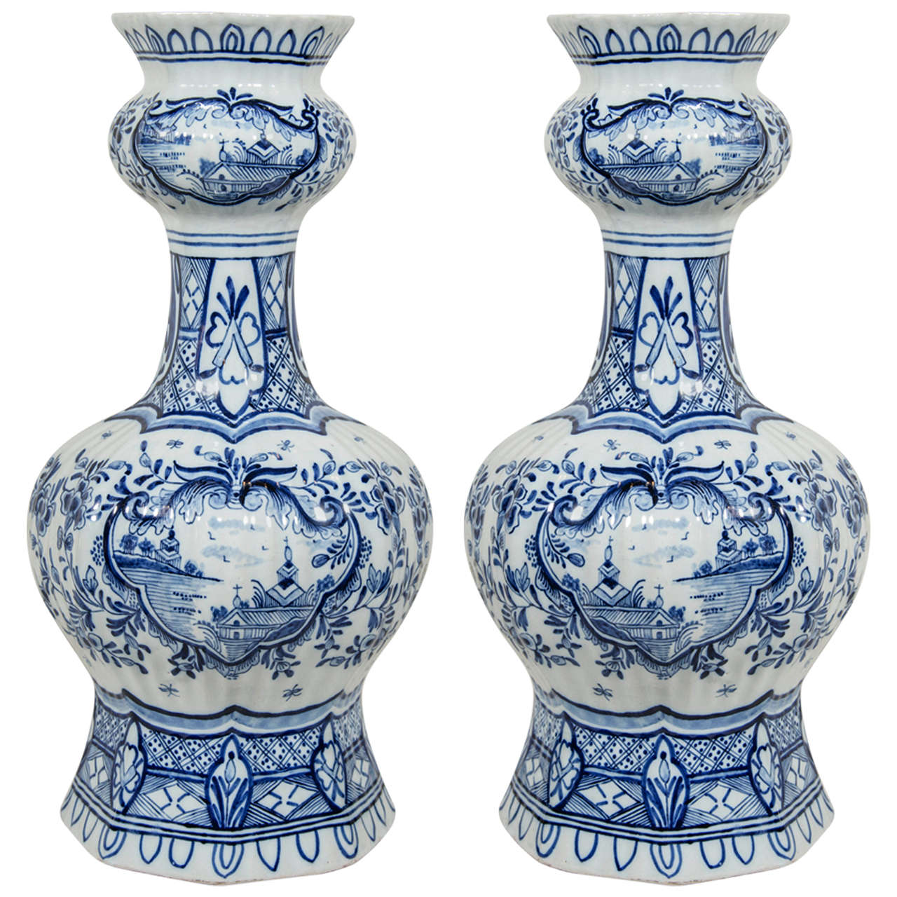 Pair of blue and white dutch delft vases with chinoiserie scenes pair of blue and white dutch delft vases with chinoiserie scenes for sale reviewsmspy