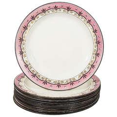 Dozen Davenport Pink Lavender Creamware Dinner Dishes