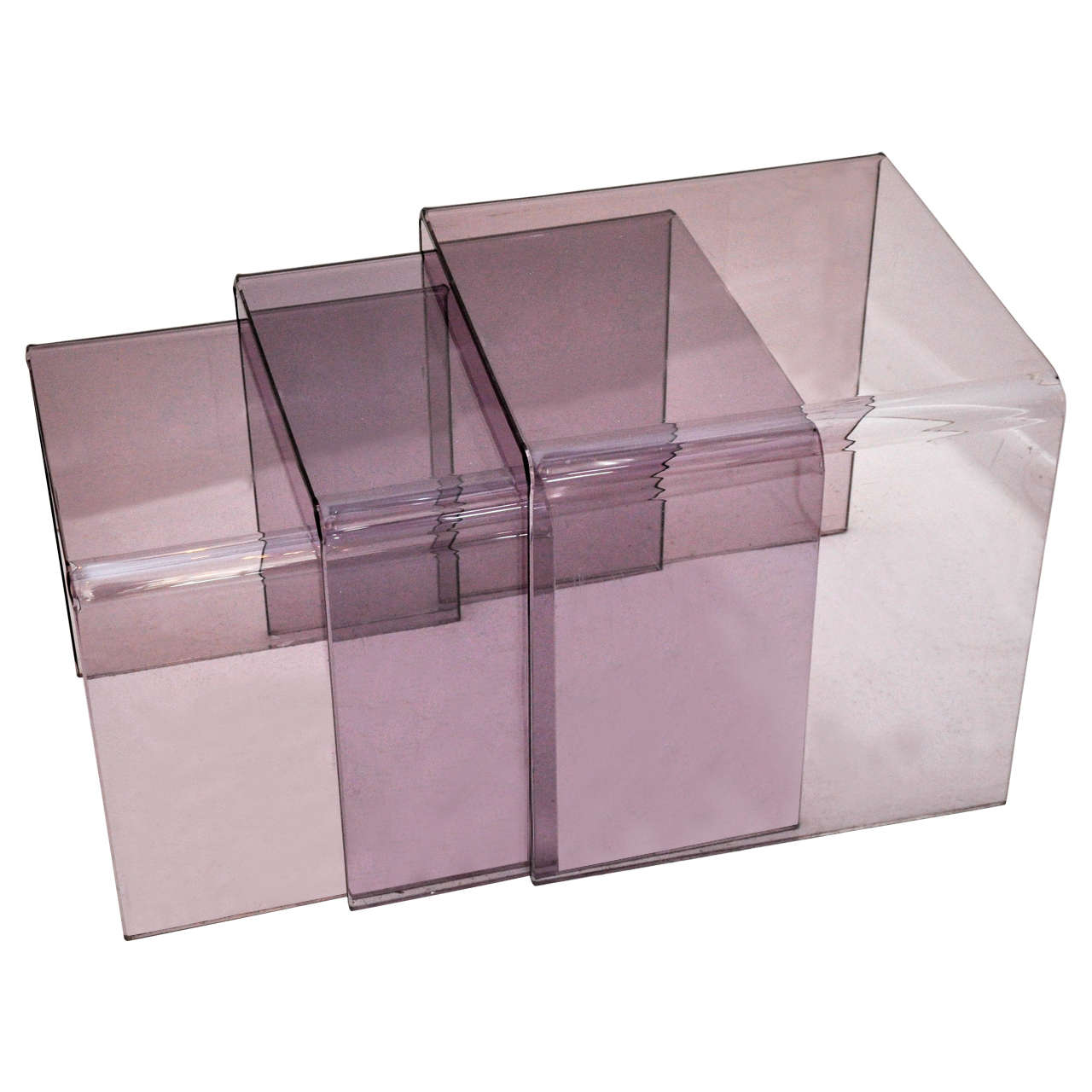 Set of three purple lucite nesting tables at 1stdibs set of three purple lucite nesting tables for sale watchthetrailerfo