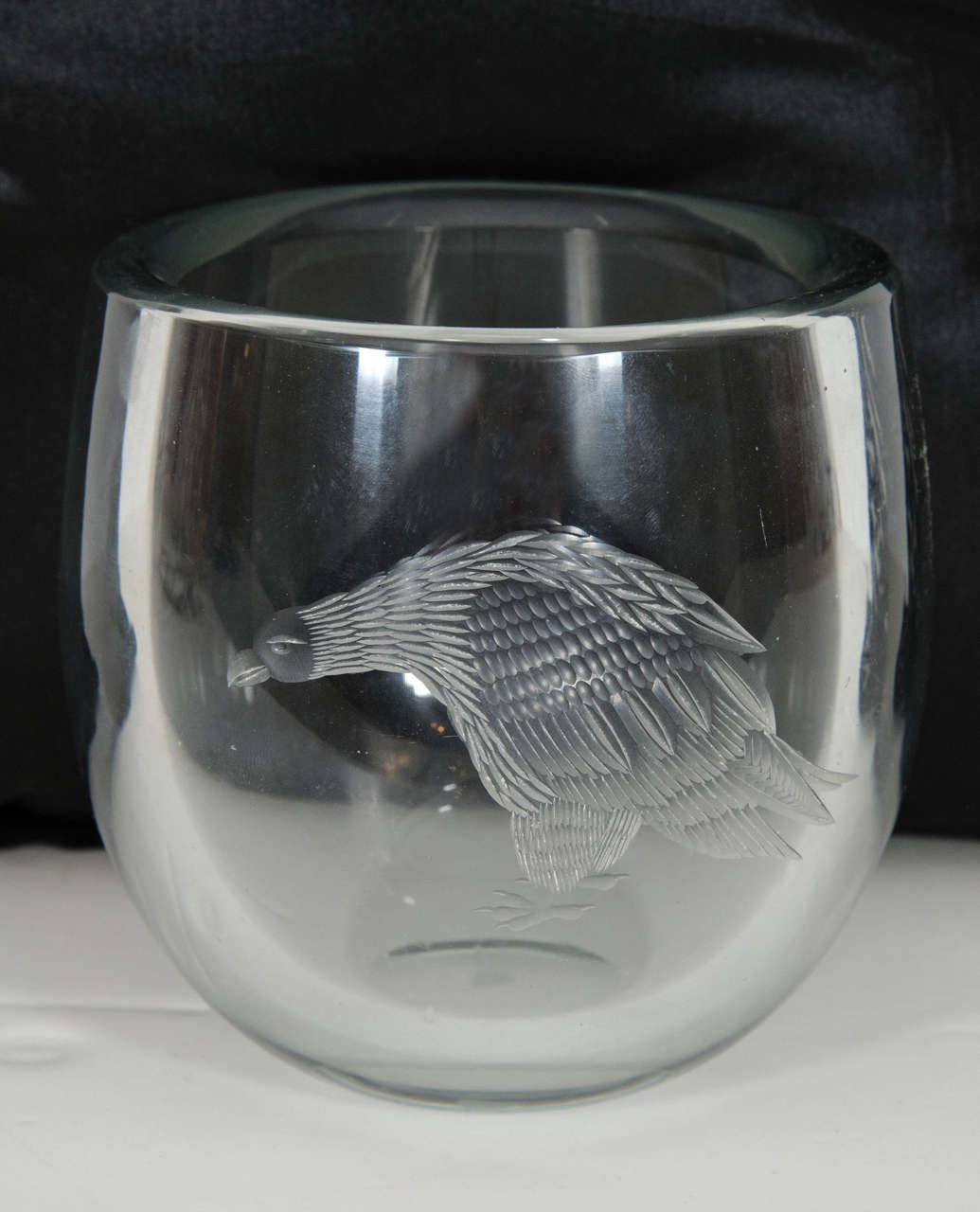 Swedish Periphas Kosta Boda Eagle Crystal Vase For Sale