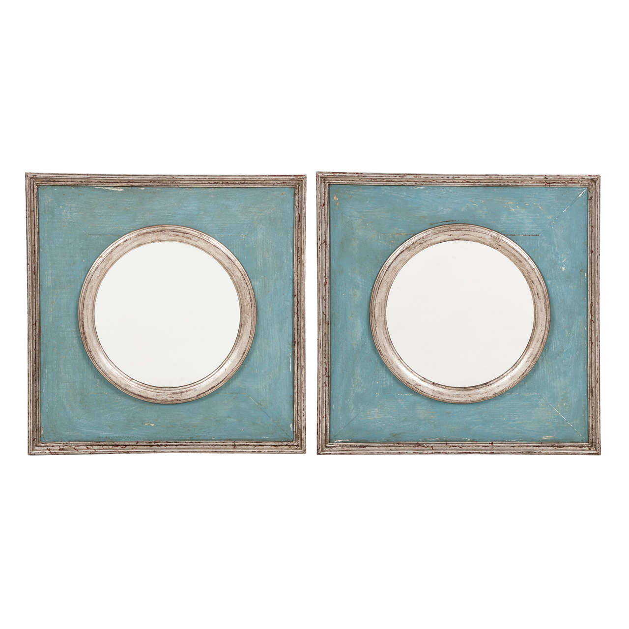 Pair Of Painted And Silvered French Mirrors At 1stdibs