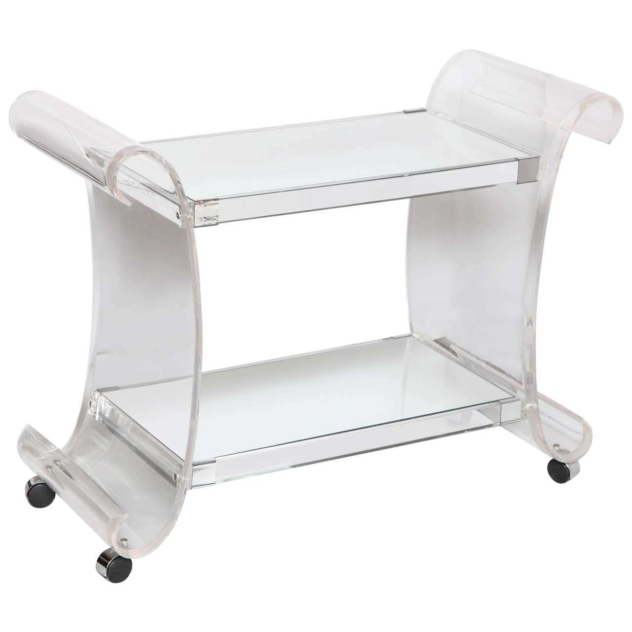 Lucite and Mirrored Two-Tier Bar or Tea Cart