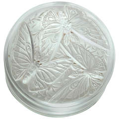 Art Deco Verlys France Lidded Frosted Glass Box with Butterflies