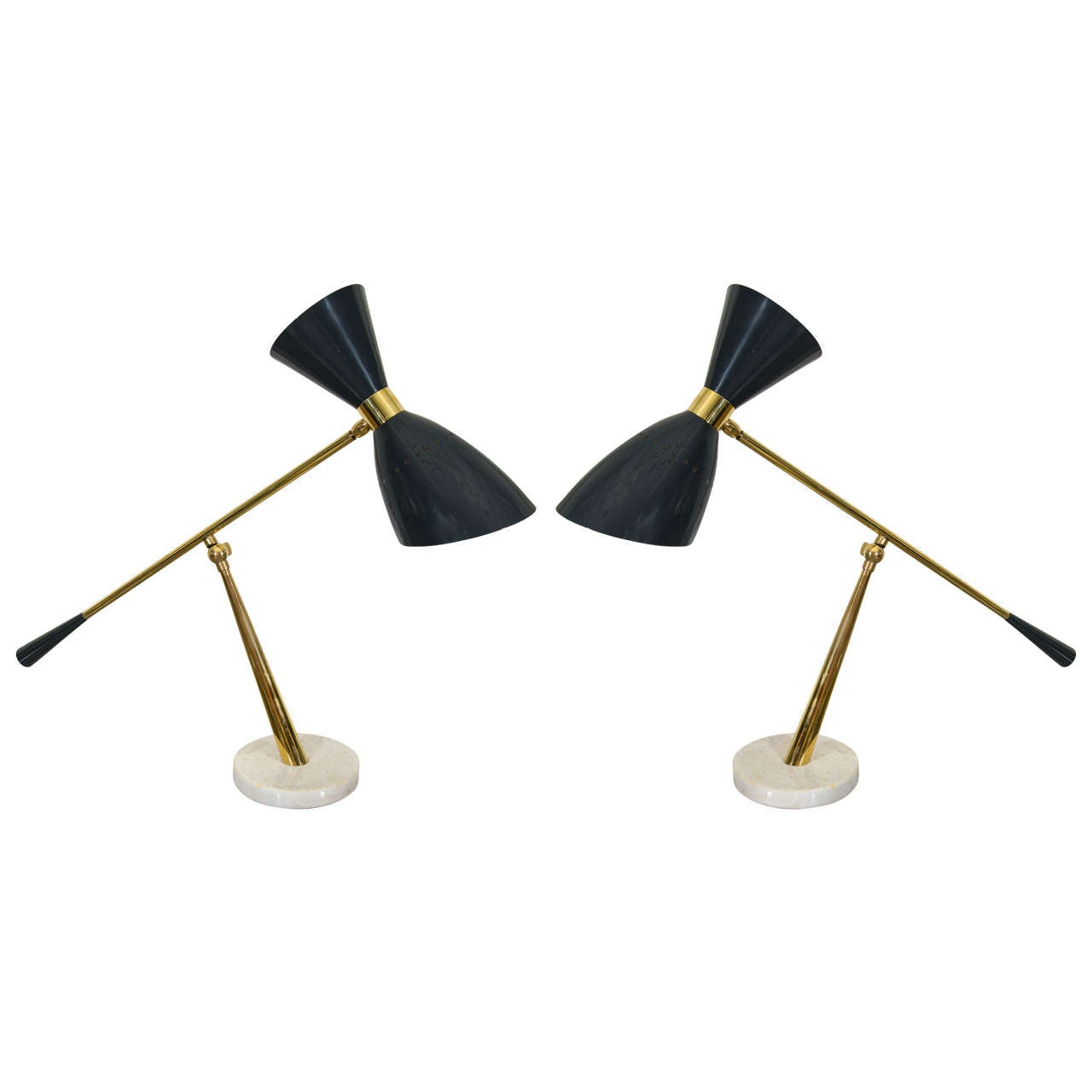 pair of italian black and marble base table lamps italy circa 1960. Black Bedroom Furniture Sets. Home Design Ideas