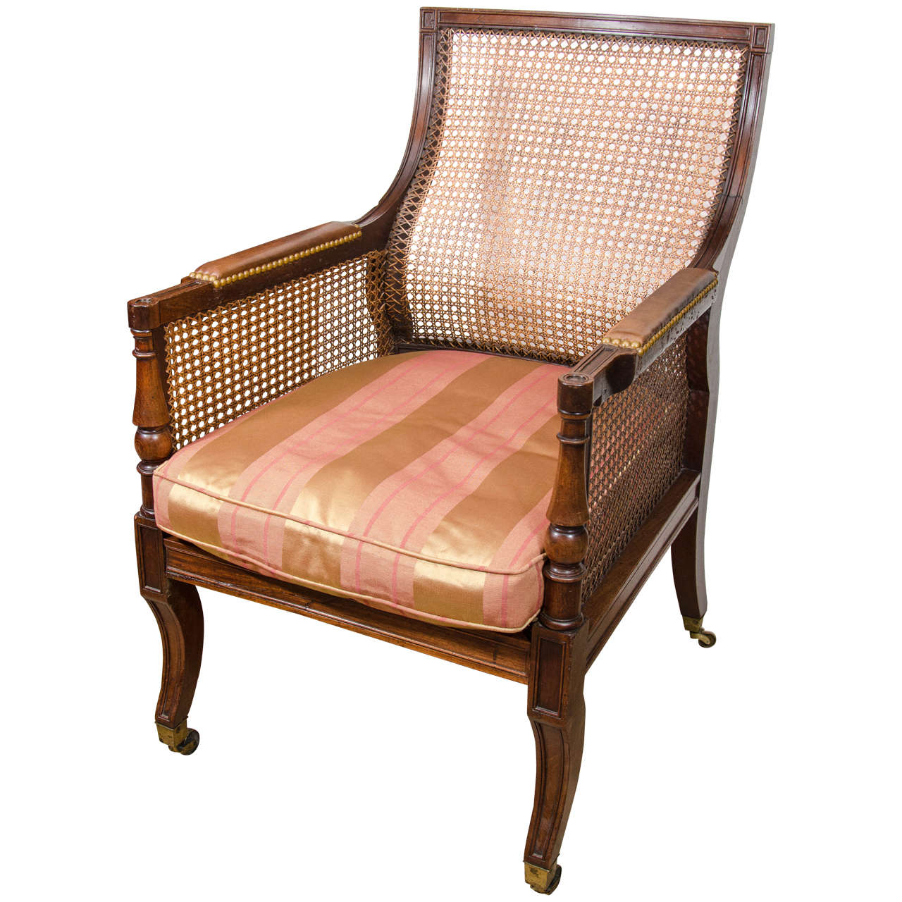 Bon Regency Caned Library Bergere Chair For Sale