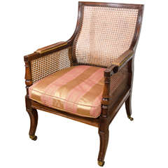 Regency Caned Library Bergere Chair