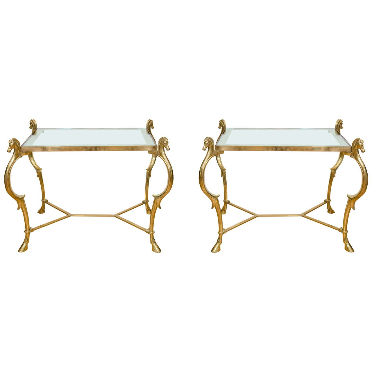 Pair of Curvilinear Brass Side Tables