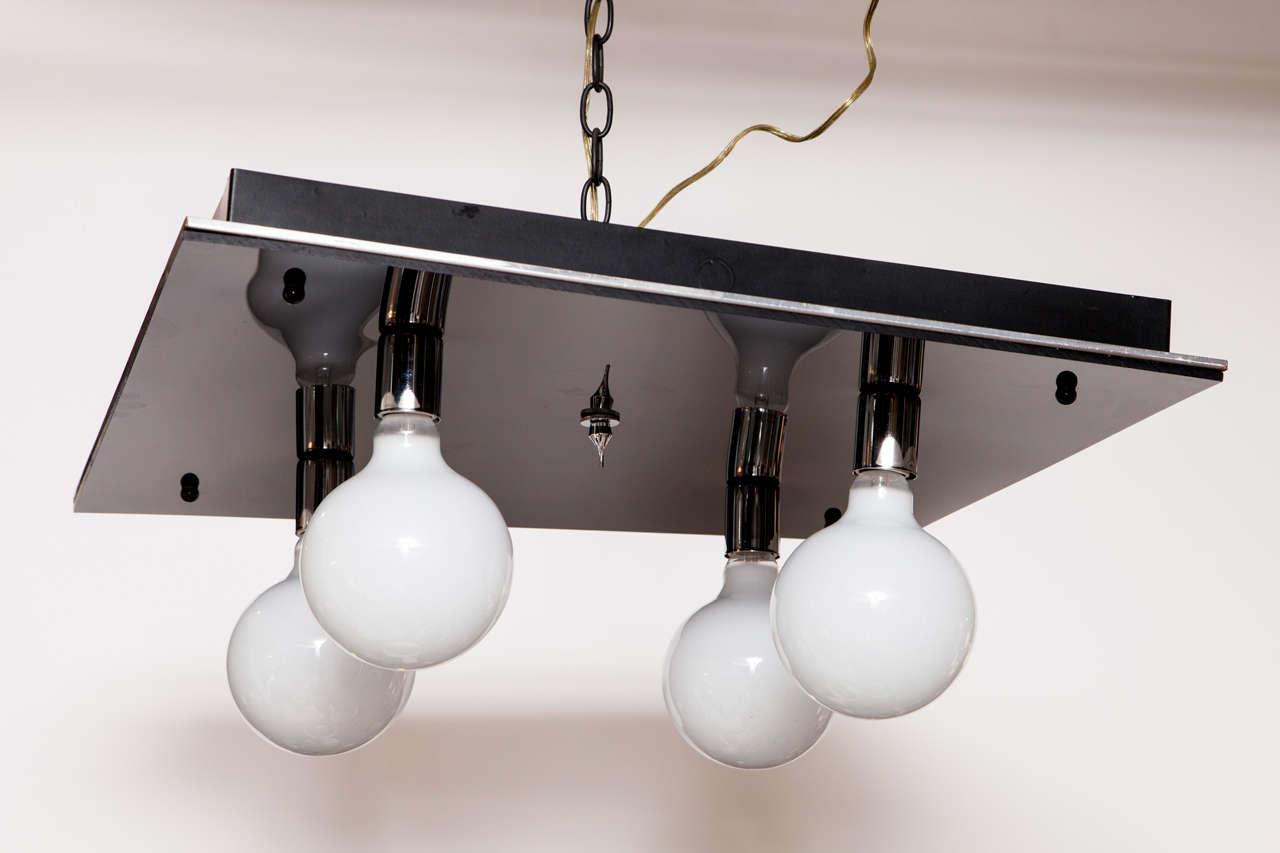American 1970s Modernist Black Glass & Chrome Flush Mount Light Fixture For Sale
