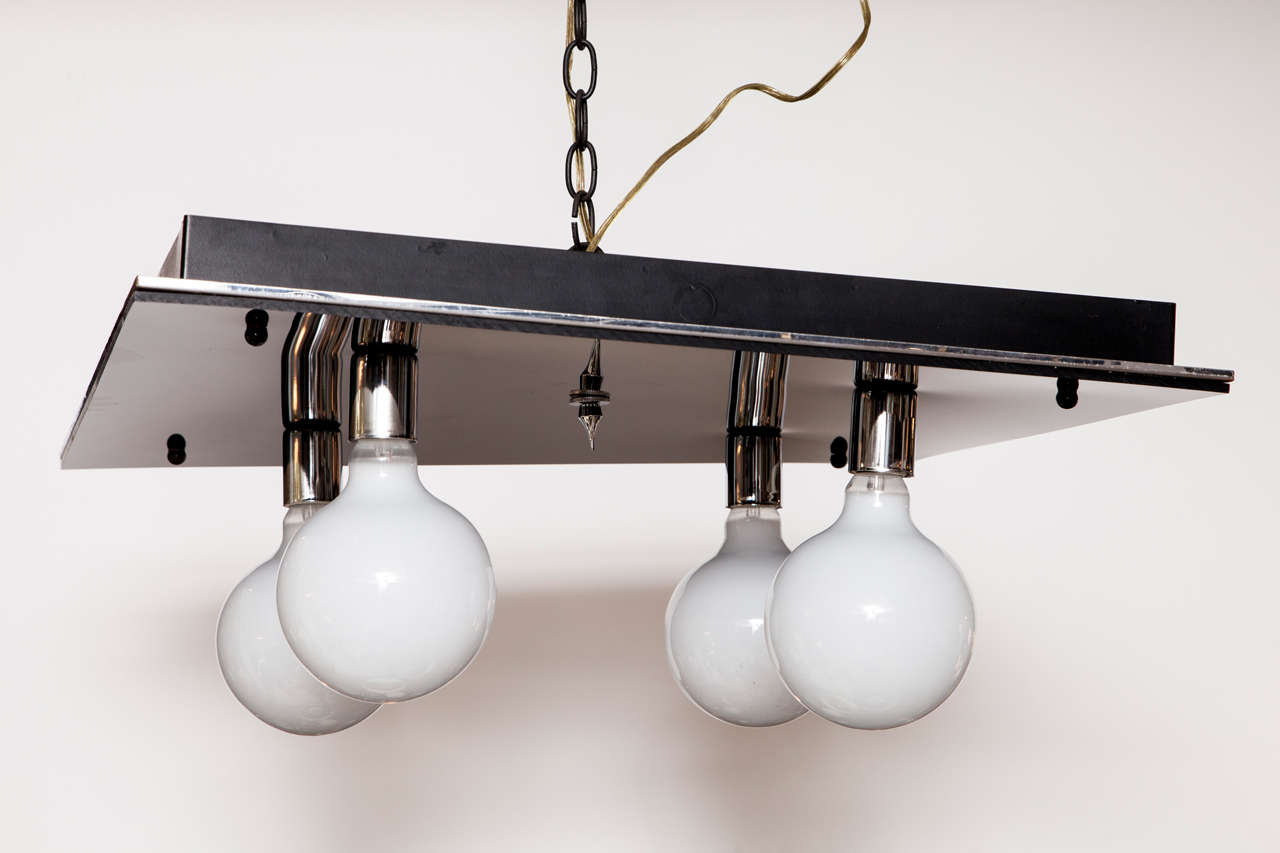 1970s Modernist Black Glass & Chrome Flush Mount Light Fixture In Excellent Condition For Sale In New York, NY