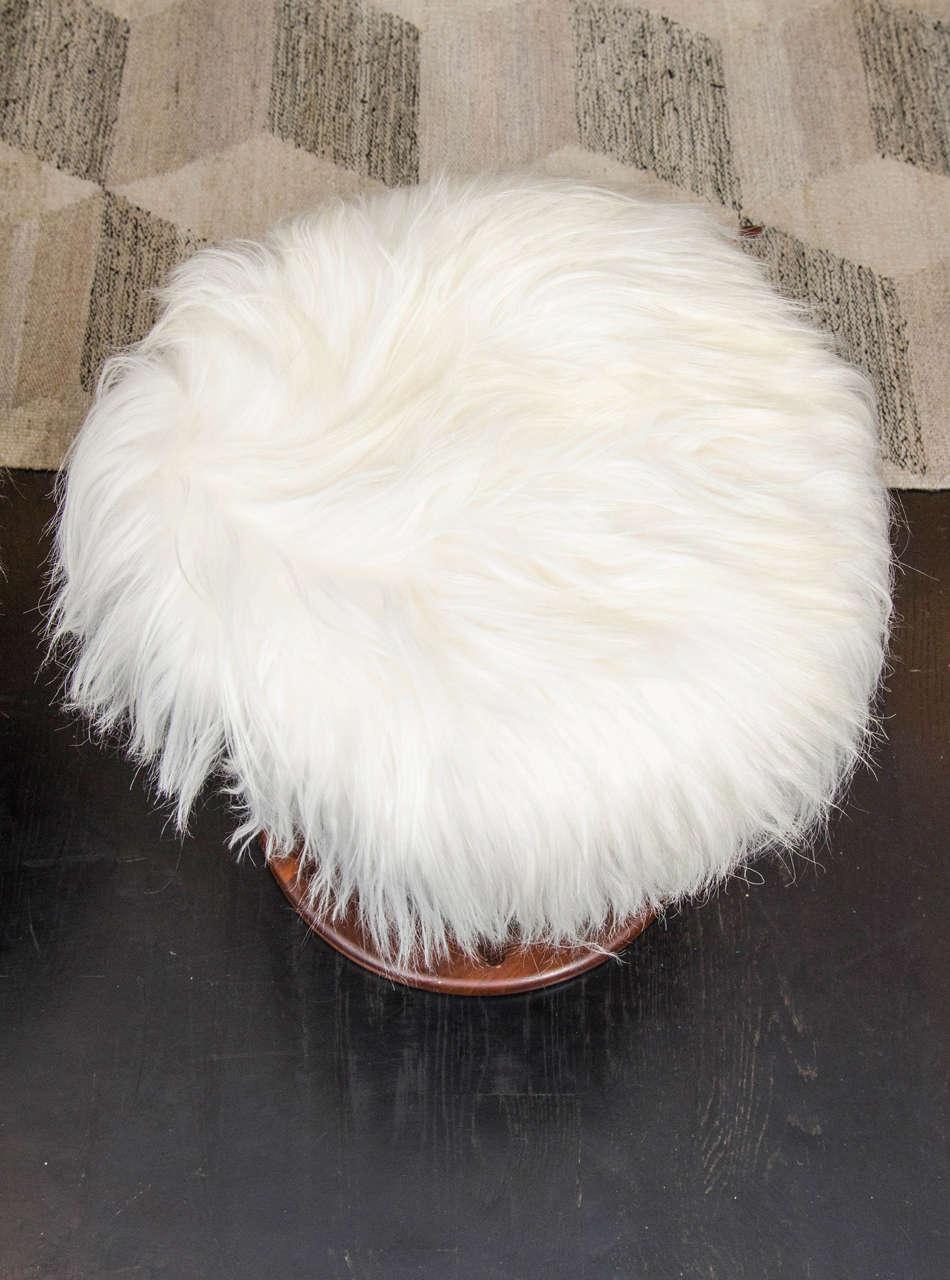 Arthur Umanoff Mahogany and Mongolian Lamb Stools For Sale 1