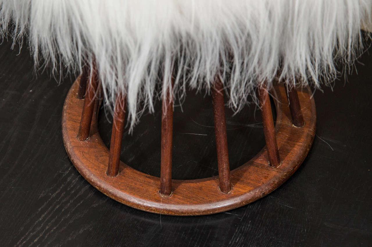 Arthur Umanoff Mahogany and Mongolian Lamb Stools For Sale 2
