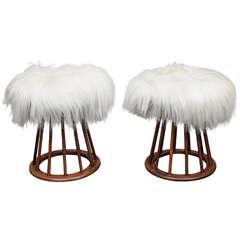 Arthur Umanoff Mahogany and Mongolian Lamb Stools
