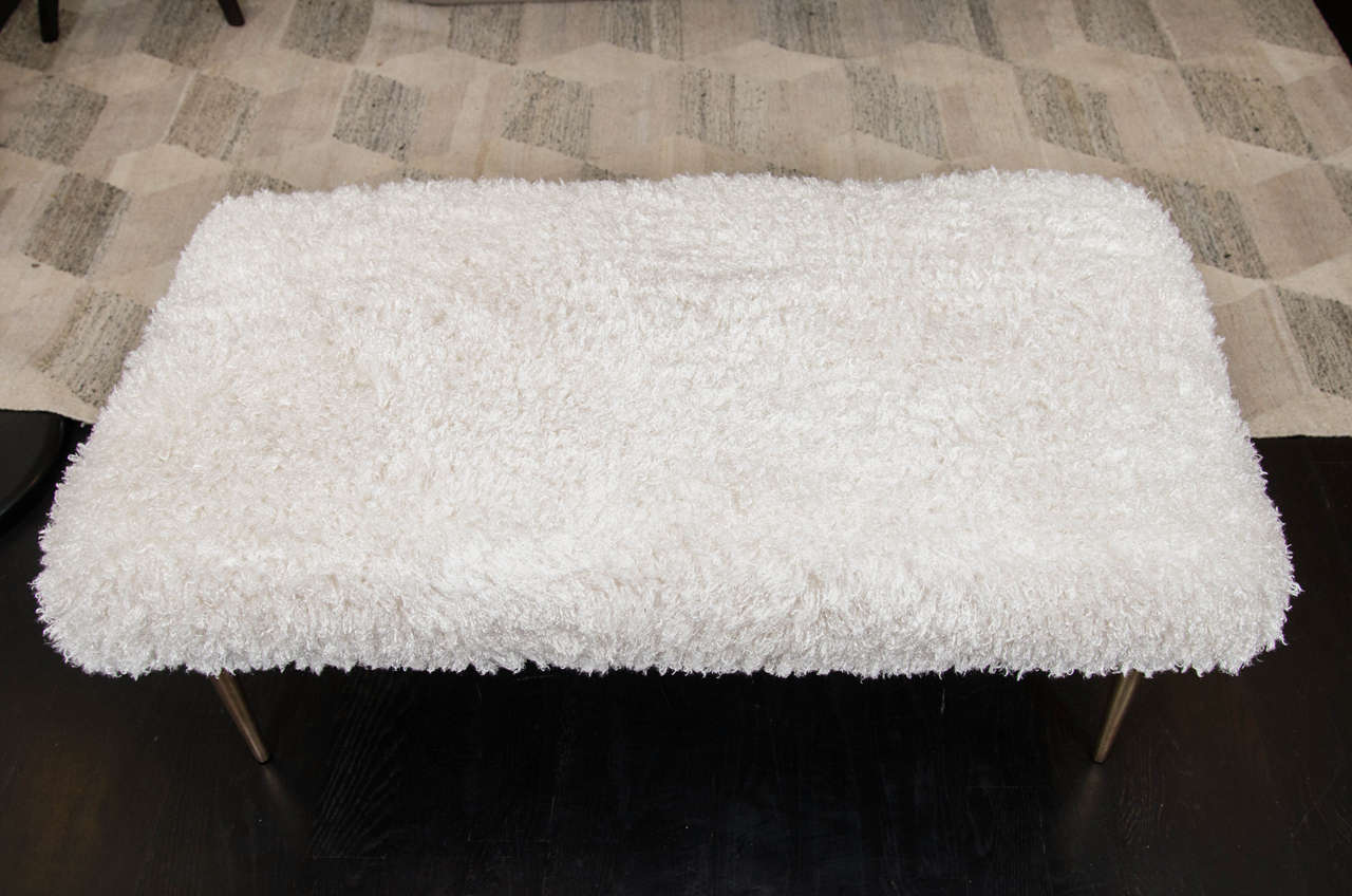 20th Century French Faux Fur Bench For Sale